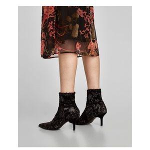 Black sequined ankle heel booties